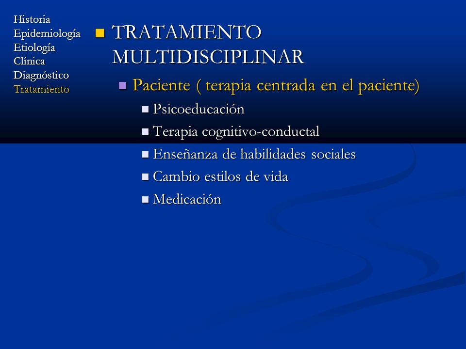 TRATAMIENTO MULTIDISCIPLINAR TRATAMIENTO MULTIDISCIPLINAR Paciente ( terapia centrada en el paciente) Paciente ( terapia centrada en el paciente) Psic