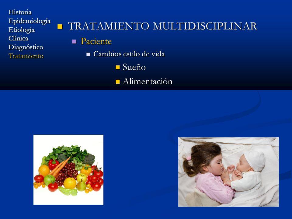 TRATAMIENTO MULTIDISCIPLINAR TRATAMIENTO MULTIDISCIPLINAR Paciente Paciente Cambios estilo de vida Cambios estilo de vida Sueño Sueño Alimentación Ali