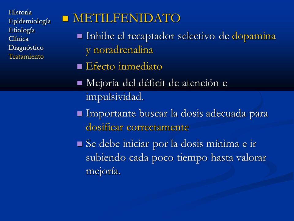 METILFENIDATO METILFENIDATO Inhibe el recaptador selectivo de dopamina y noradrenalina Inhibe el recaptador selectivo de dopamina y noradrenalina Efec