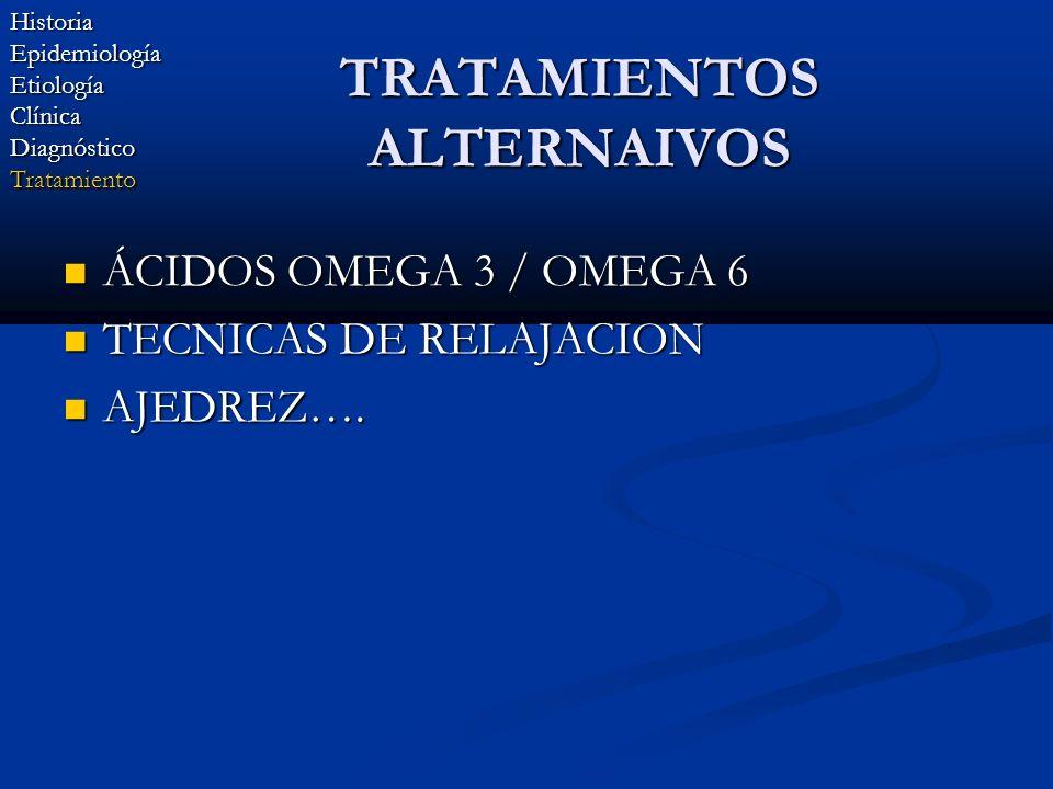TRATAMIENTOS ALTERNAIVOS ÁCIDOS OMEGA 3 / OMEGA 6 ÁCIDOS OMEGA 3 / OMEGA 6 TECNICAS DE RELAJACION TECNICAS DE RELAJACION AJEDREZ…. AJEDREZ….HistoriaEp