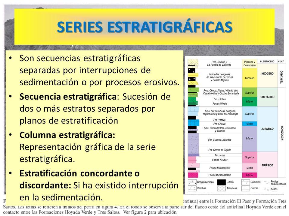 SERIES ESTRATIGRÁFICAS Son secuencias estratigráficas separadas por interrupciones de sedimentación o por procesos erosivos. Secuencia estratigráfica: