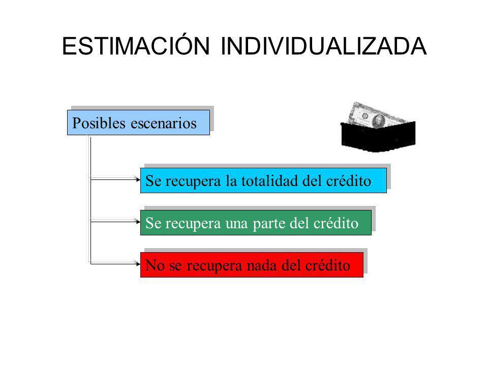 ESTIMACIÓN INDIVIDUALIZADA Posibles escenarios Se recupera la totalidad del crédito Se recupera una parte del crédito No se recupera nada del crédito