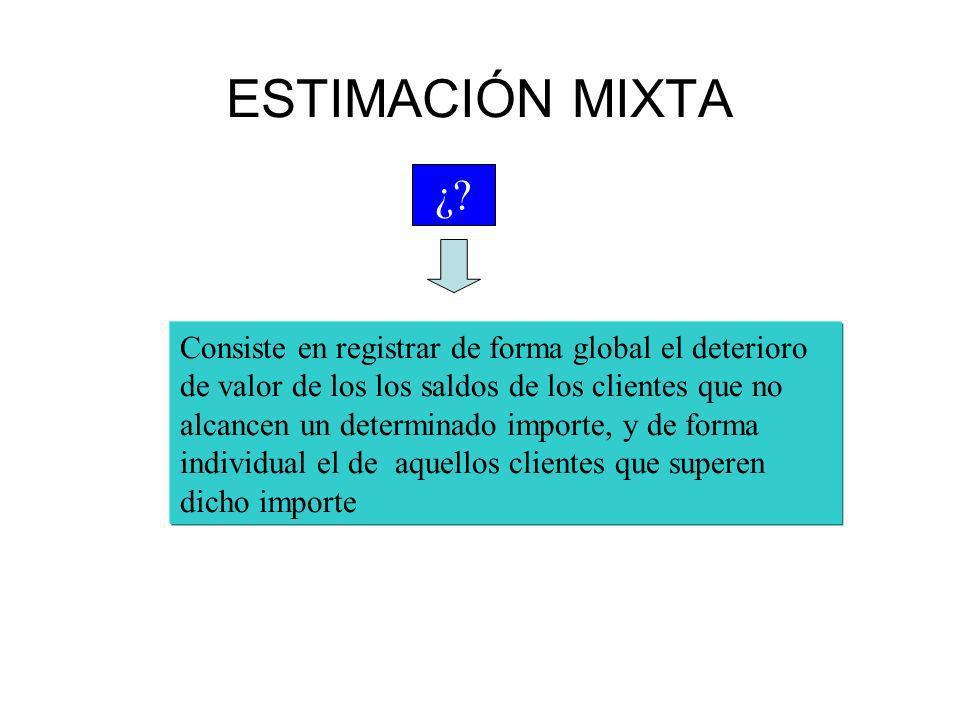 ESTIMACIÓN MIXTA Consiste en registrar de forma global el deterioro de valor de los los saldos de los clientes que no alcancen un determinado importe,