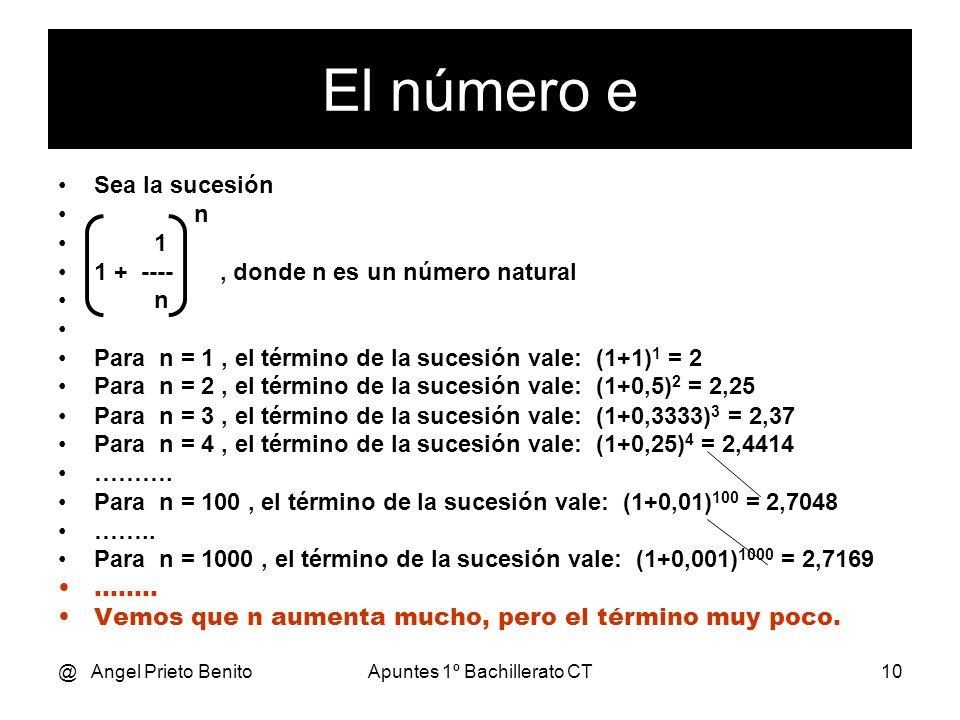 @ Angel Prieto BenitoApuntes 1º Bachillerato CT10 Sea la sucesión n 1 1 + ----, donde n es un número natural n Para n = 1, el término de la sucesión v
