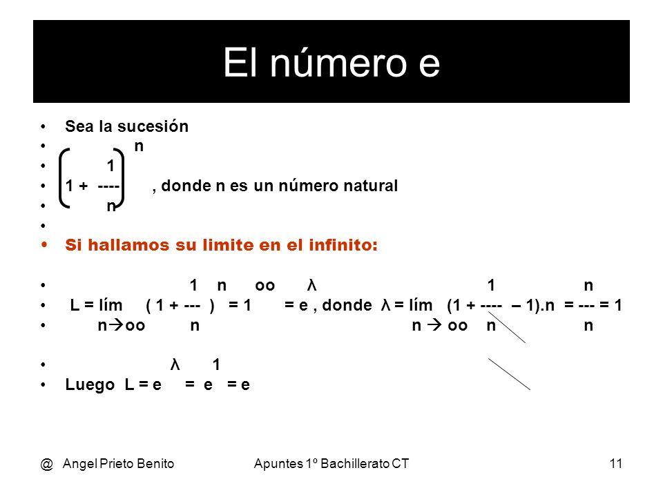 @ Angel Prieto BenitoApuntes 1º Bachillerato CT11 Sea la sucesión n 1 1 + ----, donde n es un número natural n Si hallamos su limite en el infinito: 1
