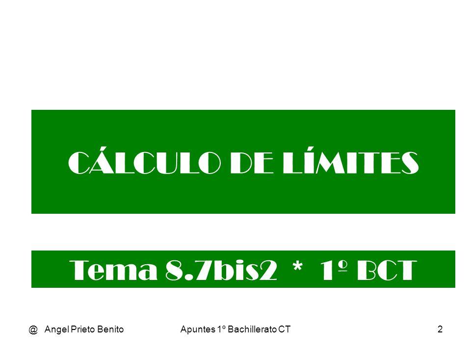 @ Angel Prieto BenitoApuntes 1º Bachillerato CT3 Límites con radicales Al hallar el limite en un punto ya hemos visto que a veces nos resultan indeterminaciones de la forma [0/0].