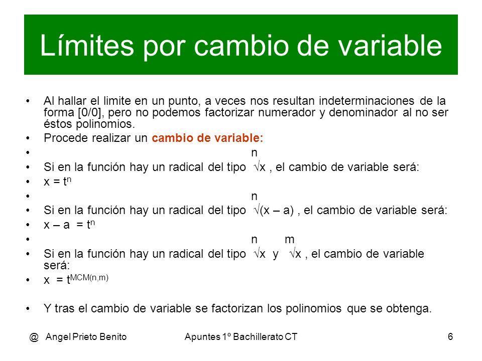 @ Angel Prieto BenitoApuntes 1º Bachillerato CT7 Ejemplo 1 (x-2) - 1 3-2) – 1 1 – 1 0 lím ---------- = --------------------- = ----------- = [-----] x 3 x – 3 3 – 3 3 – 3 0 Cambio de variable: x – 2 = t 2 x = t 2 + 2 (t 2 + 2 -2) - 1 t 2 – 1 t – 1 0 lím --------------- = lím --------------- = lim ------------- = [-----] t 1 t 2 + 2 – 3 t 1 t 2 – 1 t 1 t 2 – 1 0 t – 1 1 1 lím ----------------- = lím --------------- = ------ = 1/2 = 0,5 t 1 ( t + 1 ).( t – 1 ) t 1 t + 1 1+1