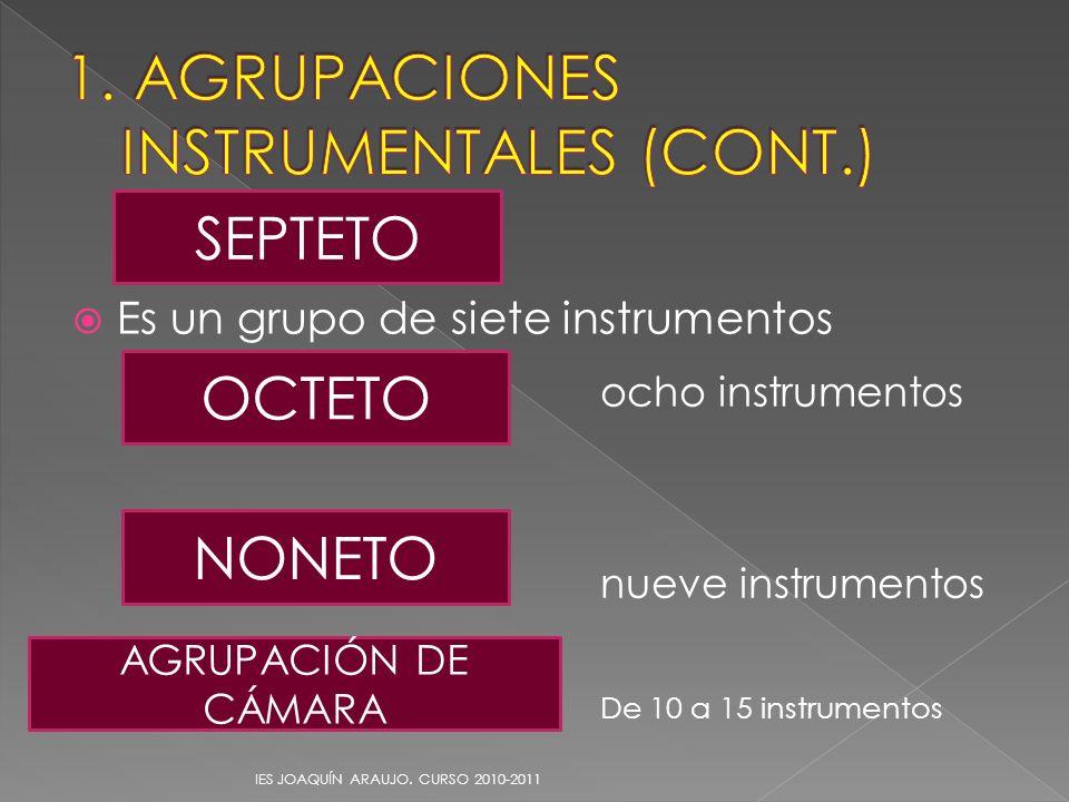 Es un grupo de siete instrumentos IES JOAQUÍN ARAUJO. CURSO 2010-2011 SEPTETO ocho instrumentos nueve instrumentos De 10 a 15 instrumentos OCTETO NONE