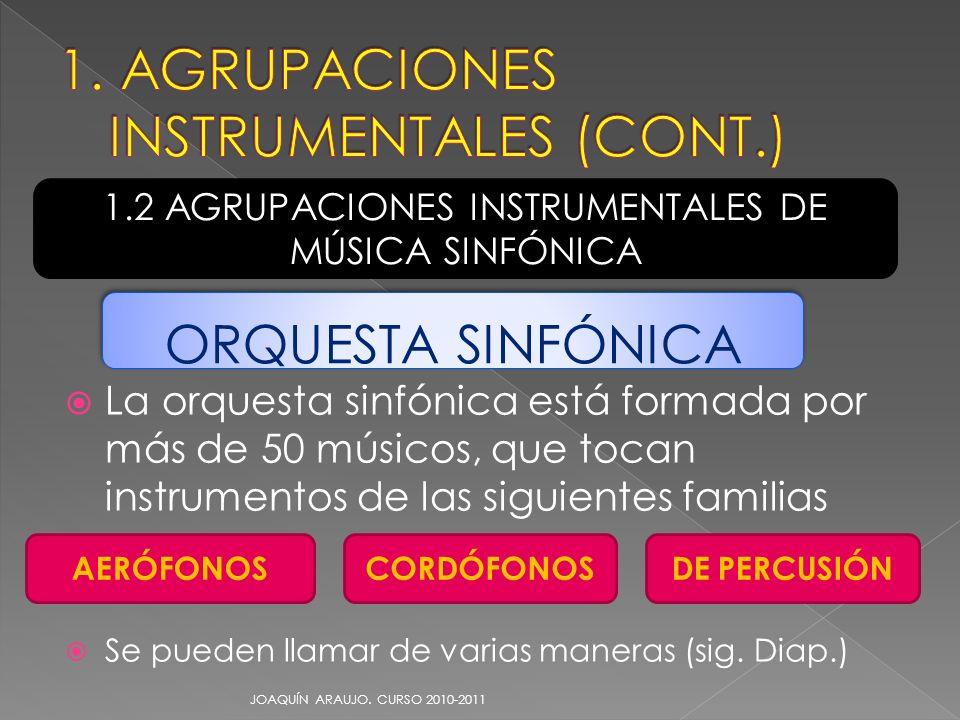 La orquesta sinfónica está formada por más de 50 músicos, que tocan instrumentos de las siguientes familias Se pueden llamar de varias maneras (sig. D