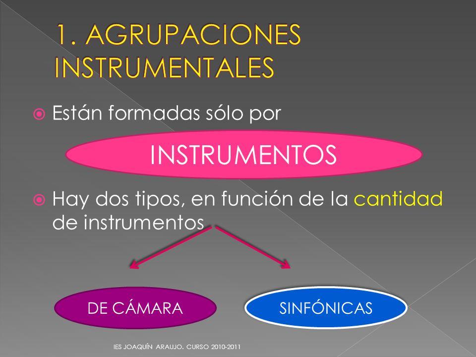 Están formadas sólo por Hay dos tipos, en función de la cantidad de instrumentos IES JOAQUÍN ARAUJO. CURSO 2010-2011 INSTRUMENTOS DE CÁMARA SINFÓNICAS