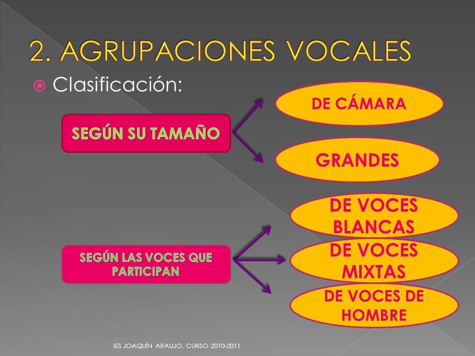Clasificación: IES JOAQUÍN ARAUJO. CURSO 2010-2011 DE CÁMARA GRANDES DE VOCES BLANCAS DE VOCES DE HOMBRE DE VOCES MIXTAS