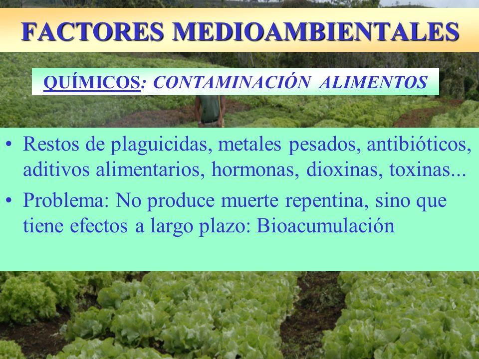 Restos de plaguicidas, metales pesados, antibióticos, aditivos alimentarios, hormonas, dioxinas, toxinas... Problema: No produce muerte repentina, sin