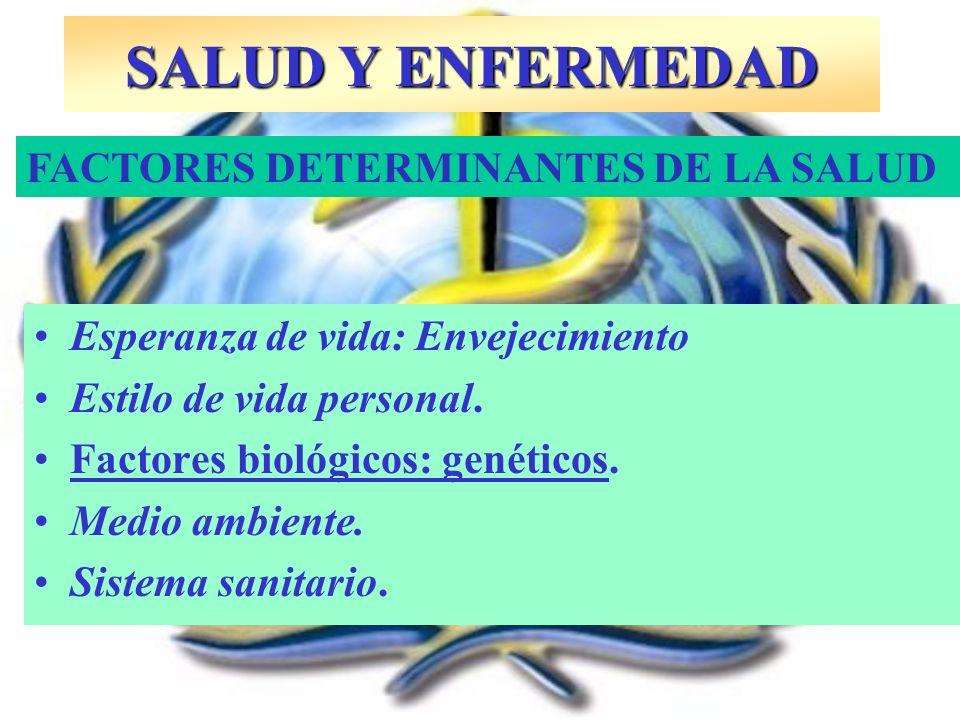 SALUD Y ENFERMEDAD Esperanza de vida: Envejecimiento Estilo de vida personal. Factores biológicos: genéticos. Medio ambiente. Sistema sanitario. FACTO