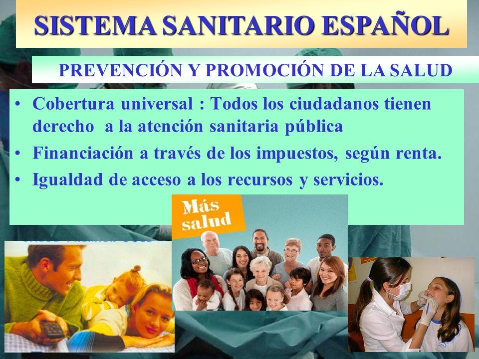 SISTEMA SANITARIO ESPAÑOL PREVENCIÓN Y PROMOCIÓN DE LA SALUD Cobertura universal : Todos los ciudadanos tienen derecho a la atención sanitaria pública