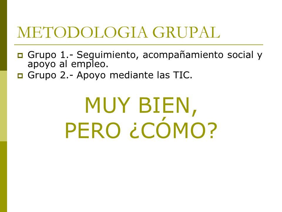 METODOLOGIA GRUPAL Grupo 1.- Seguimiento, acompañamiento social y apoyo al empleo. Grupo 2.- Apoyo mediante las TIC. MUY BIEN, PERO ¿CÓMO?