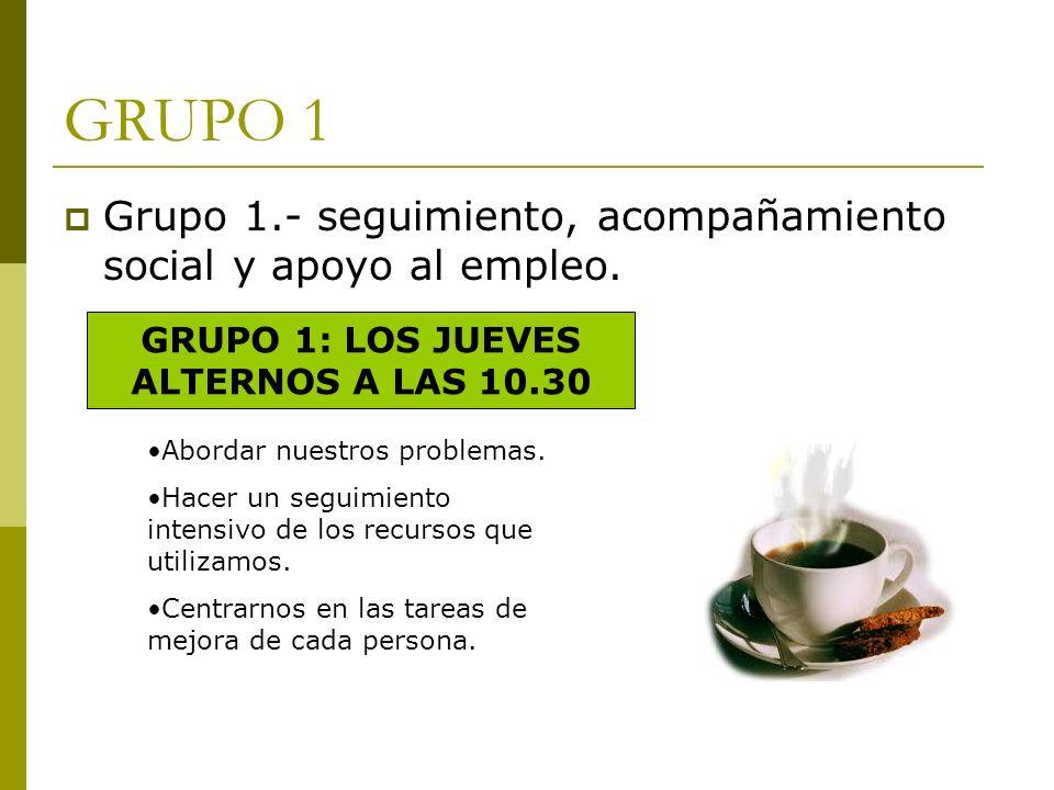 GRUPO 1 Grupo 1.- seguimiento, acompañamiento social y apoyo al empleo. GRUPO 1: LOS JUEVES ALTERNOS A LAS 10.30 Abordar nuestros problemas. Hacer un