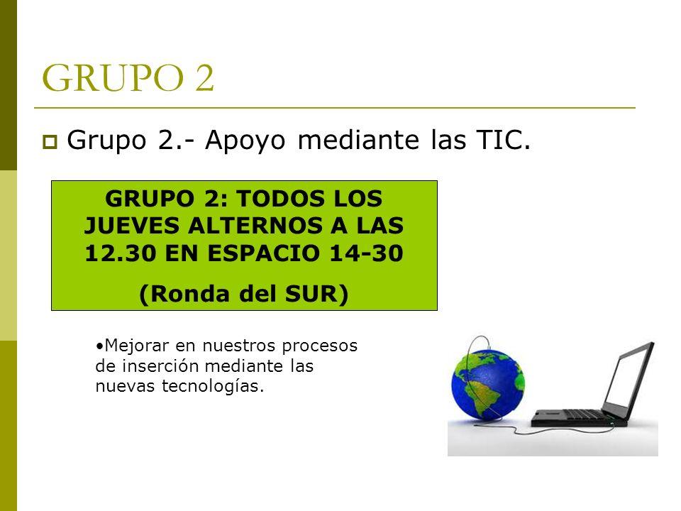 GRUPO 2 Grupo 2.- Apoyo mediante las TIC. GRUPO 2: TODOS LOS JUEVES ALTERNOS A LAS 12.30 EN ESPACIO 14-30 (Ronda del SUR) Mejorar en nuestros procesos