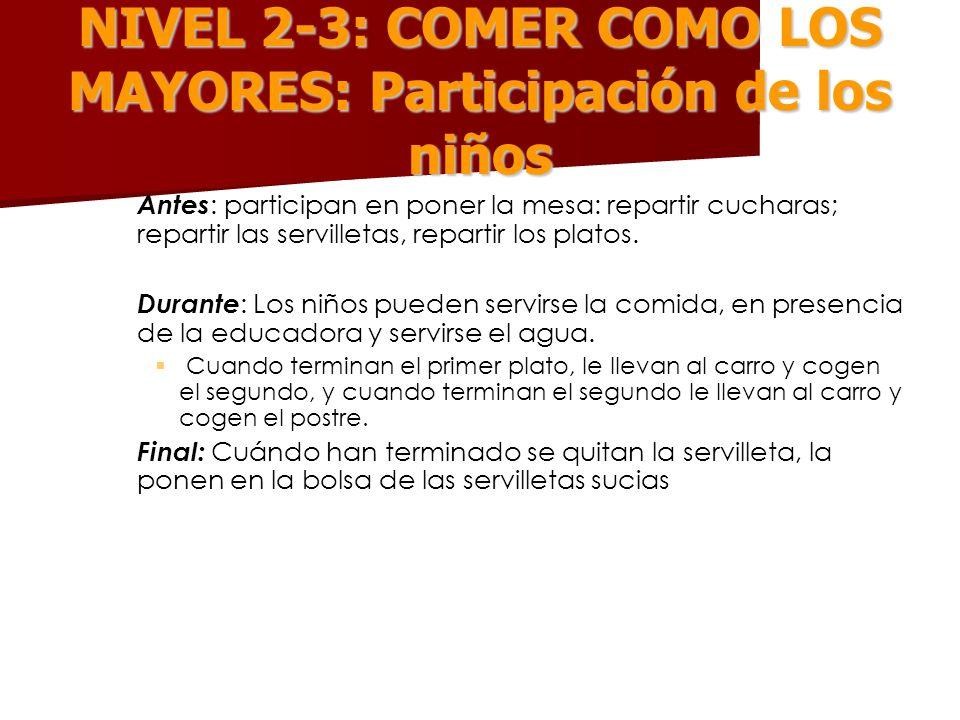 NIVEL 2-3: COMER COMO LOS MAYORES: Participación de los niños – – Antes : participan en poner la mesa: repartir cucharas; repartir las servilletas, re