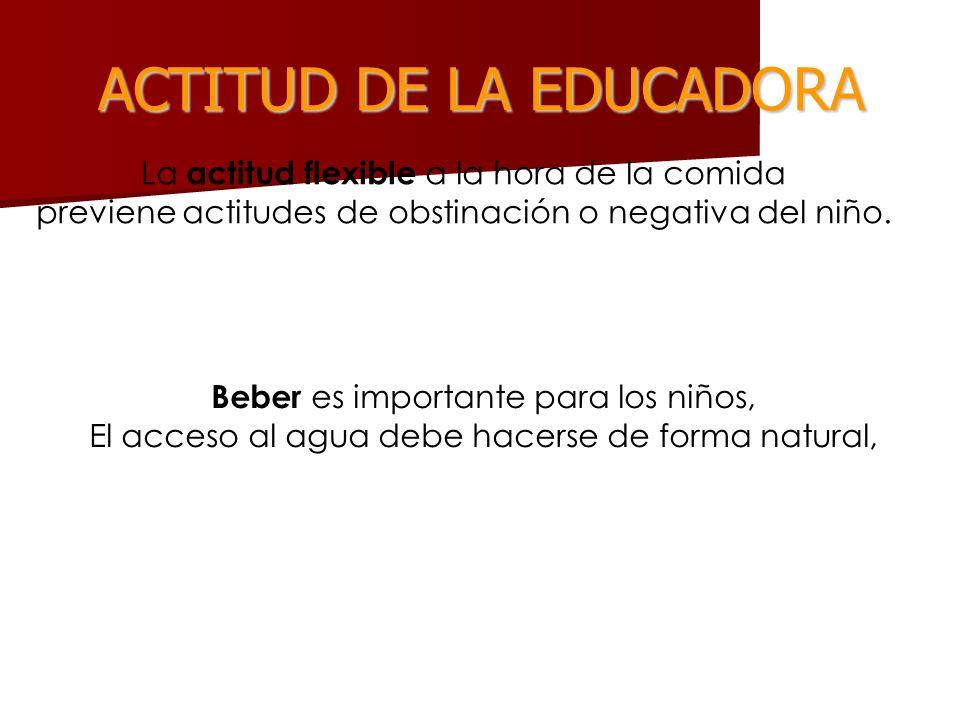 ACTITUD DE LA EDUCADORA La actitud flexible a la hora de la comida previene actitudes de obstinación o negativa del niño. Beber es importante para los
