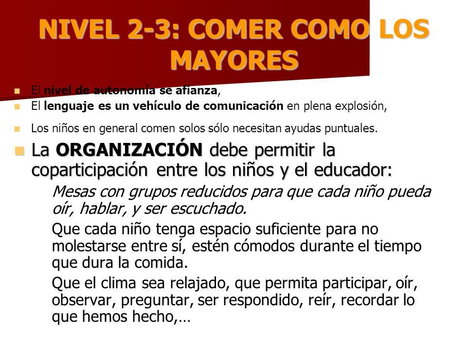 NIVEL 2-3: COMER COMO LOS MAYORES El nivel de autonomía se afianza, El lenguaje es un vehículo de comunicación en plena explosión, Los niños en genera