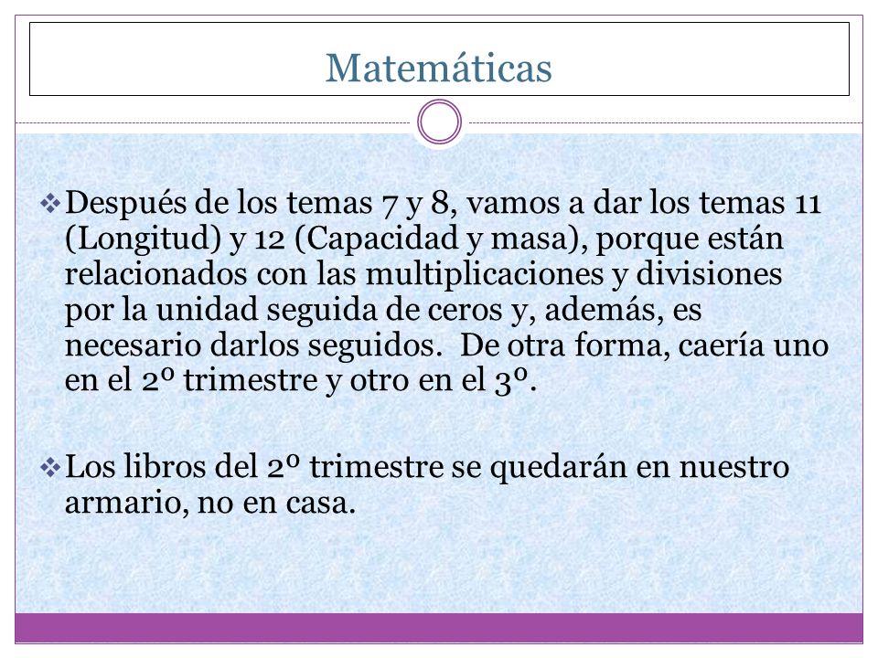 Matemáticas Después de los temas 7 y 8, vamos a dar los temas 11 (Longitud) y 12 (Capacidad y masa), porque están relacionados con las multiplicacione