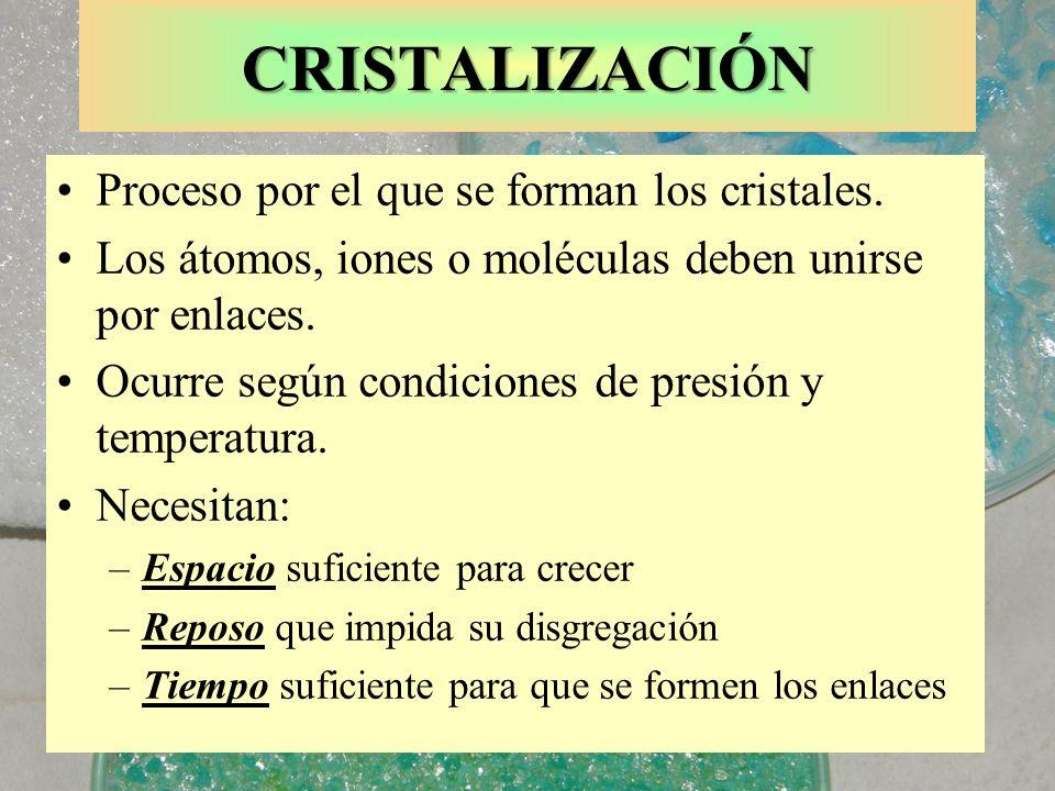 CRISTALIZACIÓN Proceso por el que se forman los cristales. Los átomos, iones o moléculas deben unirse por enlaces. Ocurre según condiciones de presión