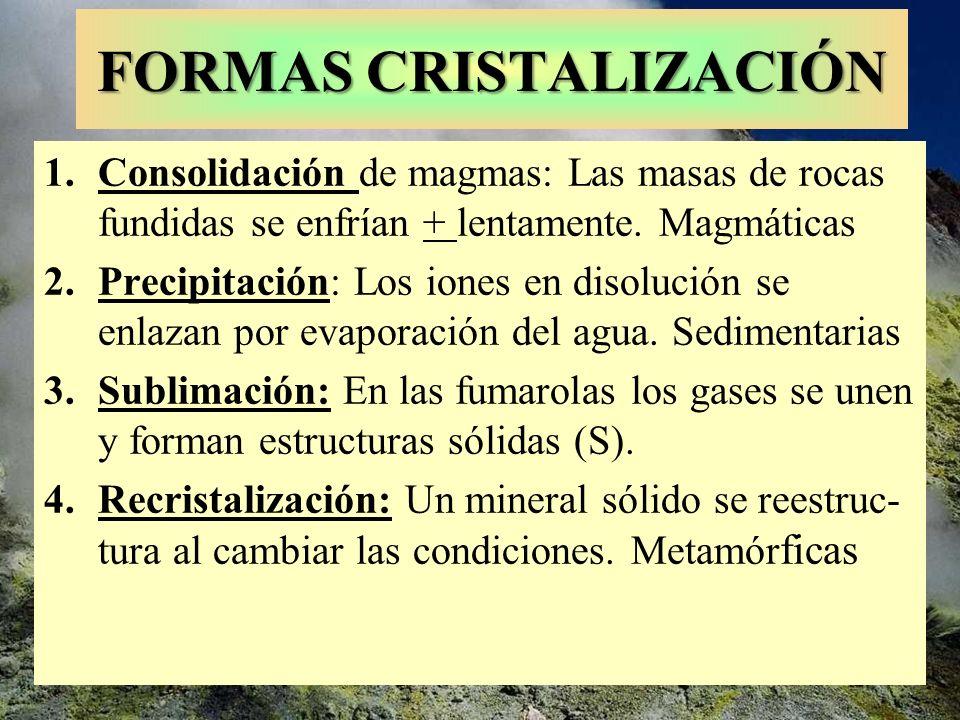 FORMAS CRISTALIZACIÓN 1.Consolidación de magmas: Las masas de rocas fundidas se enfrían + lentamente. Magmáticas 2.Precipitación: Los iones en disoluc