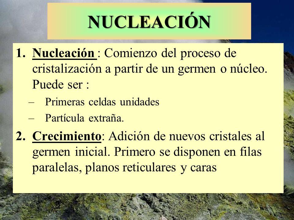 NUCLEACIÓN 1.Nucleación : Comienzo del proceso de cristalización a partir de un germen o núcleo. Puede ser : –Primeras celdas unidades –Partícula extr