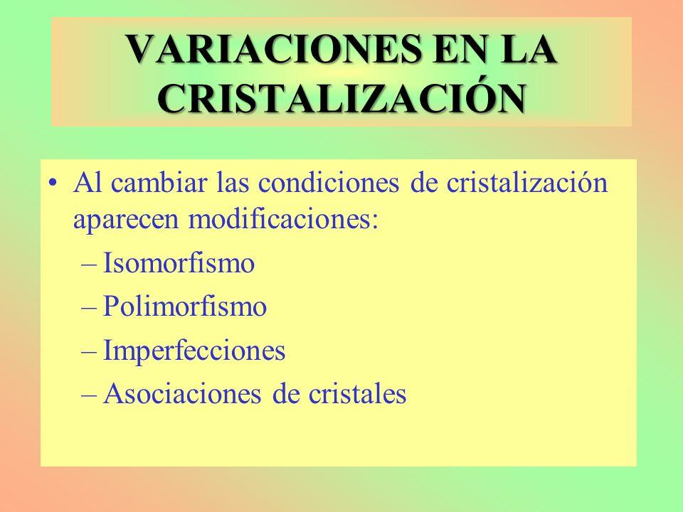 VARIACIONES EN LA CRISTALIZACIÓN Al cambiar las condiciones de cristalización aparecen modificaciones: –Isomorfismo –Polimorfismo –Imperfecciones –Aso