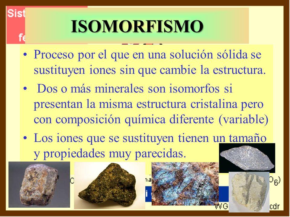 ISOMORFISMO Proceso por el que en una solución sólida se sustituyen iones sin que cambie la estructura. Dos o más minerales son isomorfos si presentan