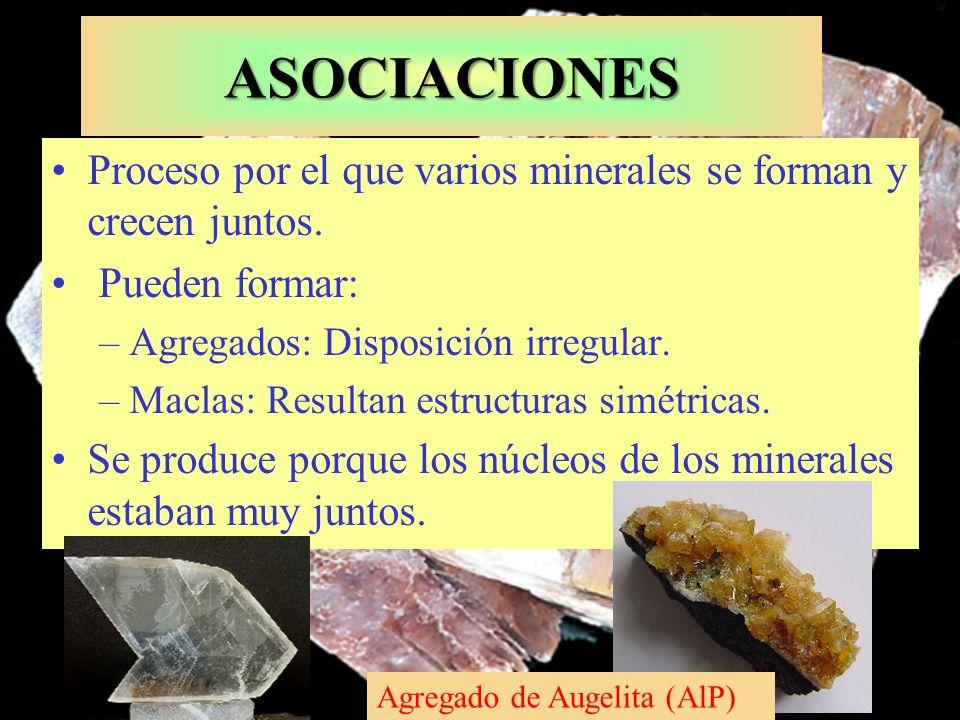 ASOCIACIONES Proceso por el que varios minerales se forman y crecen juntos. Pueden formar: –Agregados: Disposición irregular. –Maclas: Resultan estruc