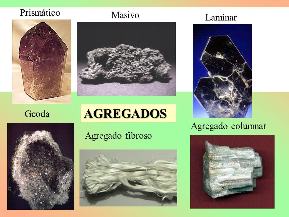Prismático Masivo Laminar Geoda Agregado fibroso Agregado columnar AGREGADOS