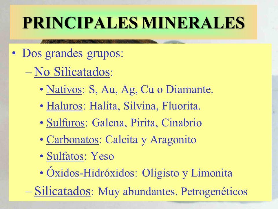 PRINCIPALES MINERALES Dos grandes grupos: –No Silicatados : Nativos: S, Au, Ag, Cu o Diamante. Haluros: Halita, Silvina, Fluorita. Sulfuros: Galena, P