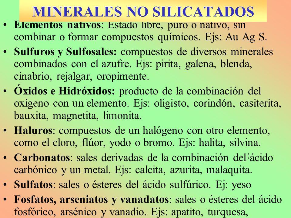 ). ). Elementos nativos: Estado libre, puro o nativo, sin combinar o formar compuestos químicos. Ejs: Au Ag S. Sulfuros y Sulfosales: compuestos de di