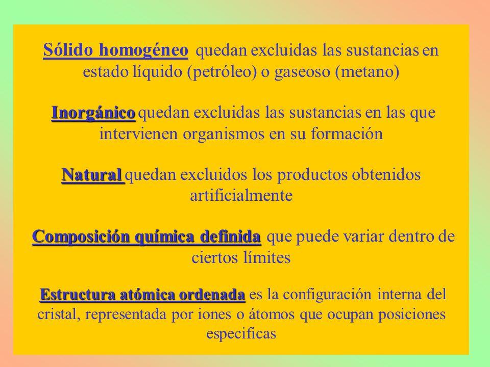 Inorgánico Natural Composición química definida Estructura atómica ordenada Sólido homogéneo quedan excluidas las sustancias en estado líquido (petról