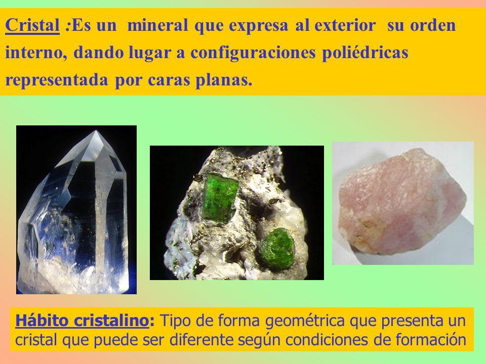 Cristal :Es un mineral que expresa al exterior su orden interno, dando lugar a configuraciones poliédricas representada por caras planas. Hábito crist