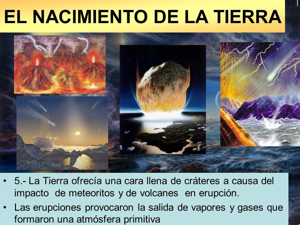 5.- La Tierra ofrecía una cara llena de cráteres a causa del impacto de meteoritos y de volcanes en erupción. Las erupciones provocaron la salida de v