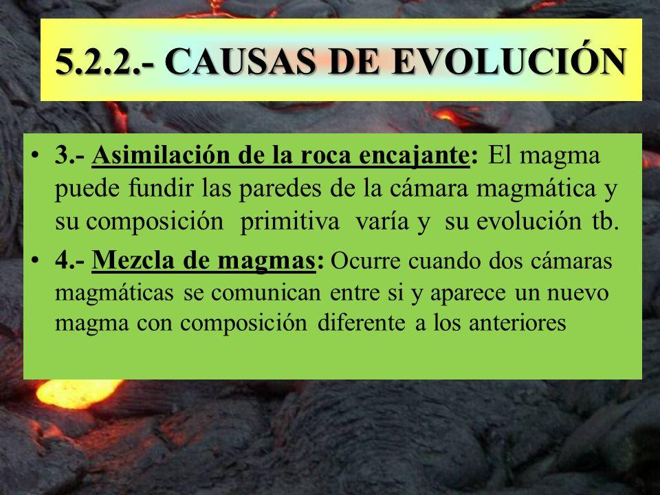 5.2.2.- CAUSAS DE EVOLUCIÓN 3.- Asimilación de la roca encajante: El magma puede fundir las paredes de la cámara magmática y su composición primitiva
