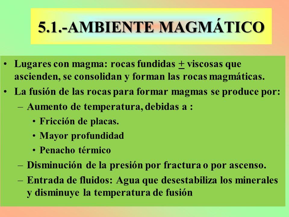 5.1.-AMBIENTE MAGMÁTICO Lugares con magma: rocas fundidas + viscosas que ascienden, se consolidan y forman las rocas magmáticas. La fusión de las roca