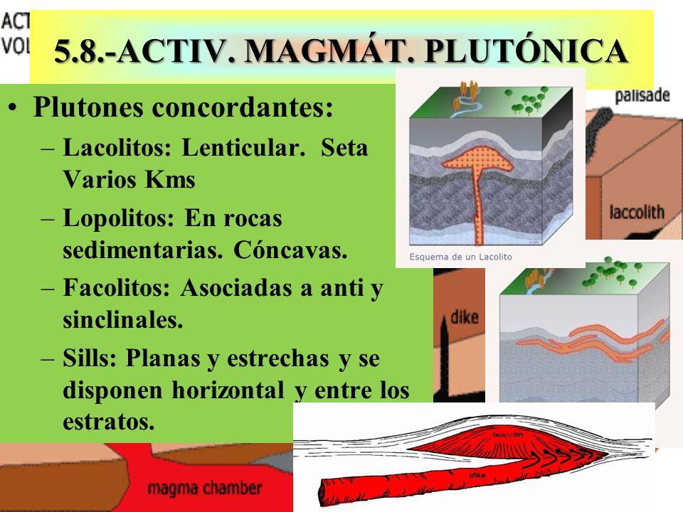 5.8.-ACTIV. MAGMÁT. PLUTÓNICA Plutones concordantes: –Lacolitos: Lenticular. Seta Varios Kms –Lopolitos: En rocas sedimentarias. Cóncavas. –Facolitos: