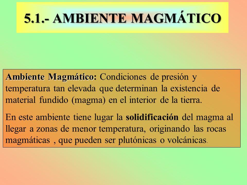Ambiente Magmático Ambiente Magmático: Condiciones de presión y temperatura tan elevada que determinan la existencia de material fundido (magma) en el
