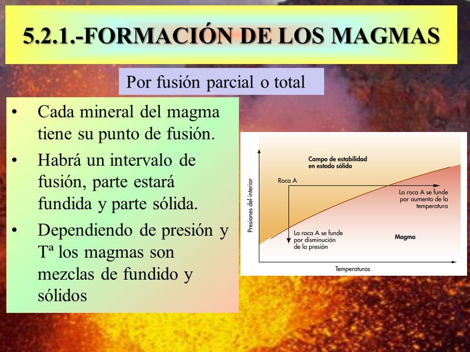 Por fusión parcial o total 5.2.1.-FORMACIÓN DE LOS MAGMAS Cada mineral del magma tiene su punto de fusión. Habrá un intervalo de fusión, parte estará