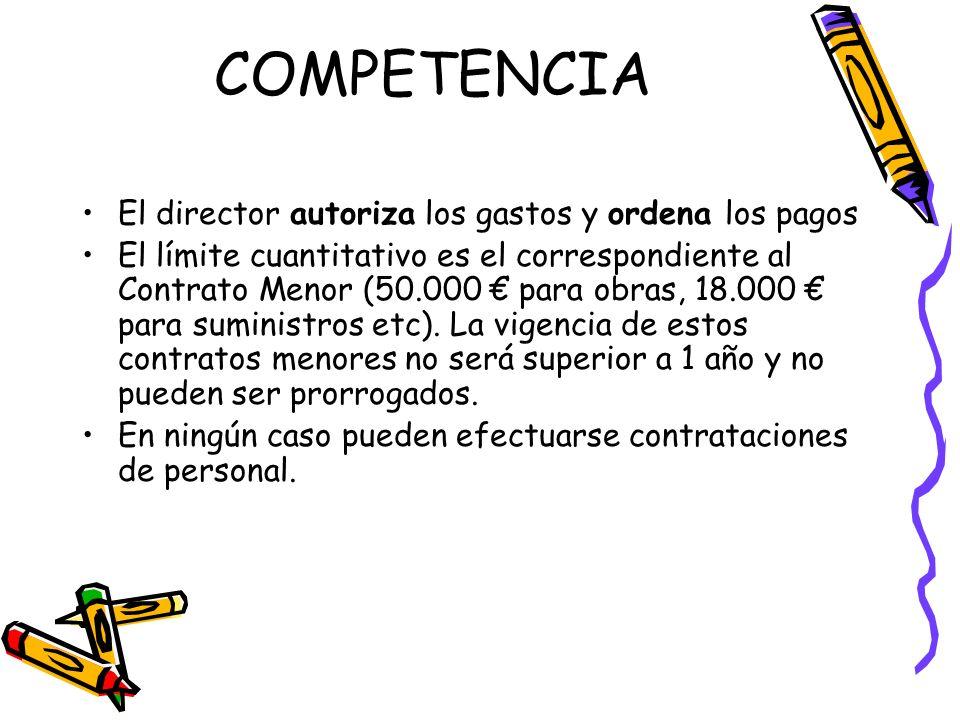 COMPETENCIA El director autoriza los gastos y ordena los pagos El límite cuantitativo es el correspondiente al Contrato Menor (50.000 para obras, 18.0