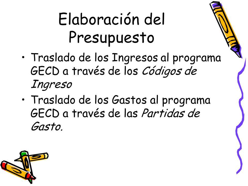 Elaboración del Presupuesto Traslado de los Ingresos al programa GECD a través de los Códigos de Ingreso Traslado de los Gastos al programa GECD a tra