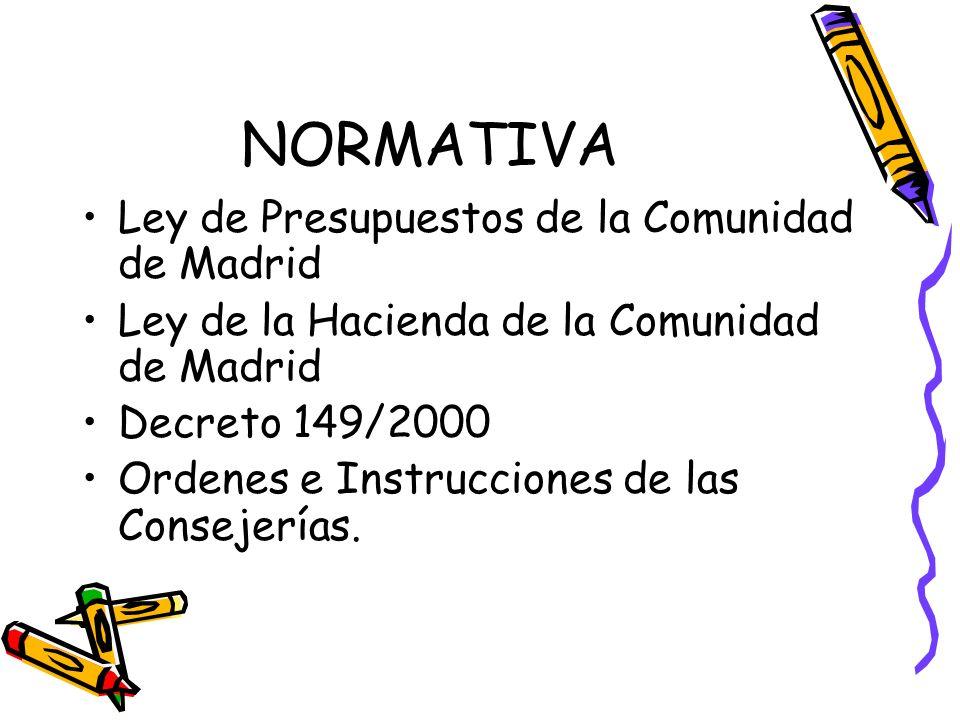 NORMATIVA Ley de Presupuestos de la Comunidad de Madrid Ley de la Hacienda de la Comunidad de Madrid Decreto 149/2000 Ordenes e Instrucciones de las C