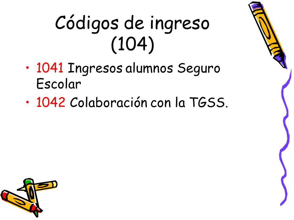 Códigos de ingreso (104) 1041 Ingresos alumnos Seguro Escolar 1042 Colaboración con la TGSS.