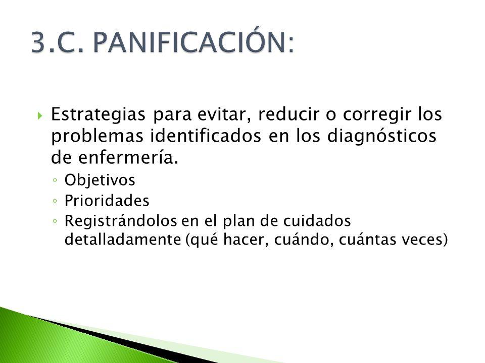 Estrategias para evitar, reducir o corregir los problemas identificados en los diagnósticos de enfermería. Objetivos Prioridades Registrándolos en el