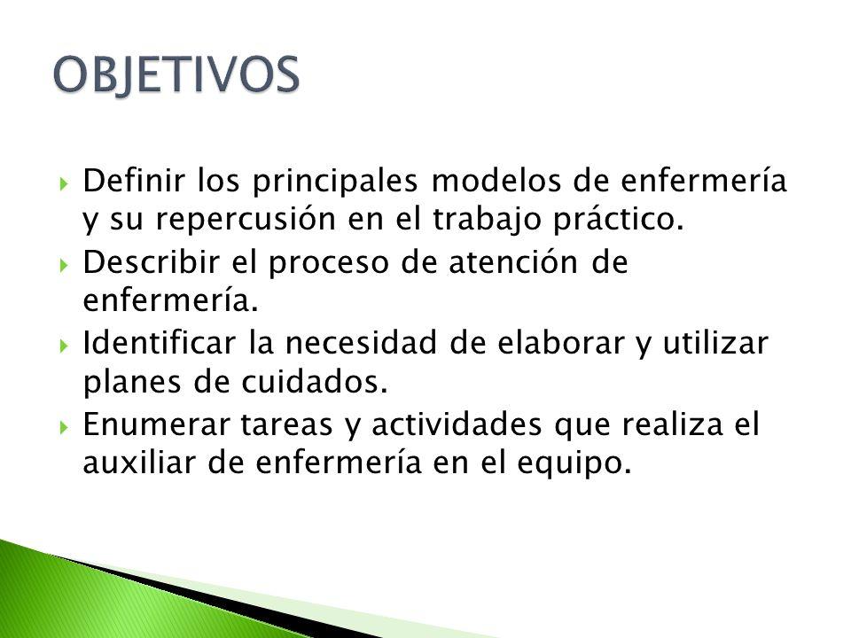 Definir los principales modelos de enfermería y su repercusión en el trabajo práctico. Describir el proceso de atención de enfermería. Identificar la