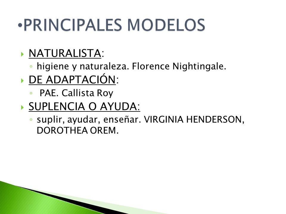 NATURALISTA: higiene y naturaleza. Florence Nightingale. DE ADAPTACIÓN: PAE. Callista Roy SUPLENCIA O AYUDA: suplir, ayudar, enseñar. VIRGINIA HENDERS