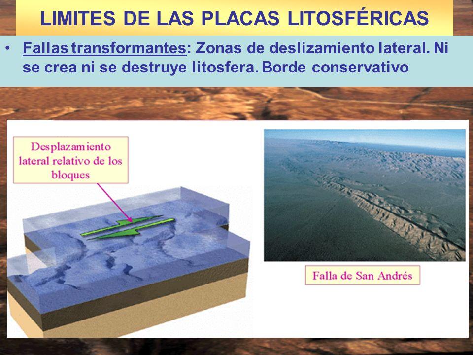 LIMITES DE LAS PLACAS LITOSFÉRICAS Fallas transformantes: Zonas de deslizamiento lateral. Ni se crea ni se destruye litosfera. Borde conservativo